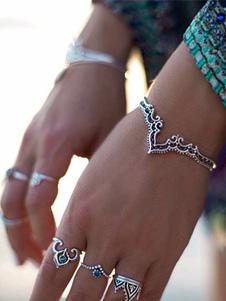 Boho brazalete abierto brazalete en relieve de plata