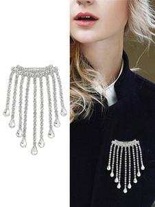 Broche de cadena de plata Broche de flecos para mujeres