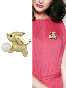 Image of Spilla ora in lega d'acciaio perle chic & moderna animali fuori donna