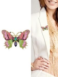Broche de mariposa Rhinestone Pin joyería regalo de San Valentín para las mujeres