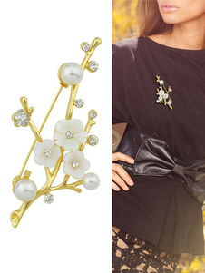 Image of Spilla in lega d'acciaio perle chic & moderna fuori donna