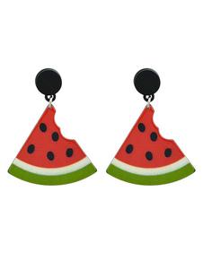 Image of Orecchini rossi in lega d'acciaio bucato orecchini pendenti frut