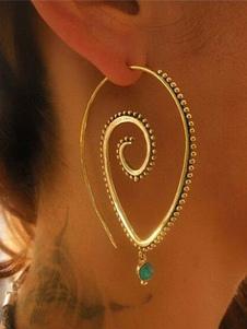 Image of Orecchini di moda in lega d'acciaio bucato cerchio con decori in metallo