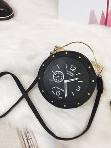 Bolsa de Lolita clásica Reloj Color Bloque de color PU Negro Lolita Bolsa de hombro