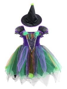Image of Costumi Cosplay Halloween cappello set strega bambina violi
