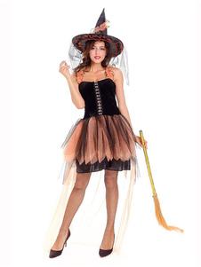 costume homme de toussaint Sorcière bicolore de Toussaint en mélange poly/coton en rayonne pour femme pour adultes Robe chapeau noire