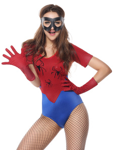 Image of Costumi rosso lycra spandex Carnevale Spiderman mascherina per o