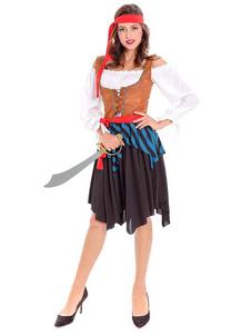 Disfraz de Halloween Pirata Mujer Marrón Vestidos Traje de vestuario