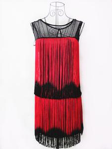 1920 vestido de traje de Halloween Gatsby vestido de la aleta del vestido rojo borlas 2018