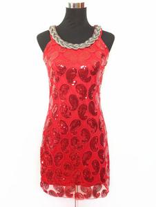 1920 vestido de traje de Halloween Gatsby vestido de la aleta del vestido corto rojo de Paisley 2018