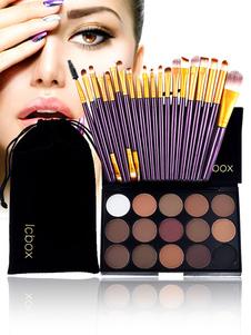 El maquillaje de las mujeres fijó la paleta de maquillaje de 15 sombras de ojos del color con 20 cepillos del maquillaje de la pieza