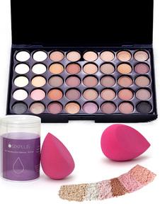 Paleta de la sombra de ojos del maquillaje de las mujeres con la esponja del maquillaje en 40 colores