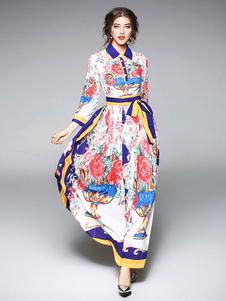 Charmante robe chemise style royal blanche impression avec lacets col à revers moulante