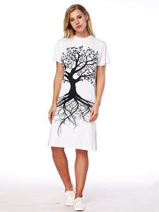 Image of Abito a T-shirt casuale donna cotone misto bianco con scollo tondo maniche corte éstate