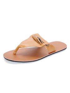 Chanclas de las mujeres de color marrón claro detalle de la correa sandalias sin respaldo Beach Sandal Shoes