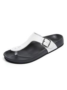 Chanclas para hombres Sandalias de playa blancas Sandalias de sandalias con punta abierta con detalle de hebilla