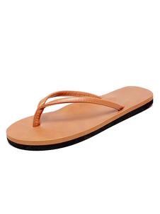 Pantuflas de hombre sandalias de playa marrón sandalias de sandalias sin respaldo de punta abierta