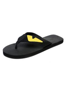 Chanclas de los hombres Sandalias sin respaldo con detalle de tanga negra Sandalias de playa con sandalias