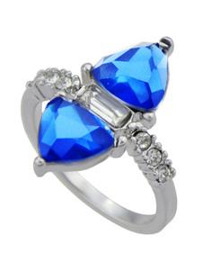 Image of Anello gemma anello argento chic & moderno festa in lega d'acciaio