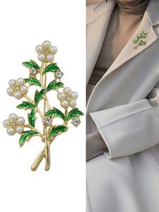 Image of Spilla di moda ora in lega d'acciaio perle chic & moderna foglie