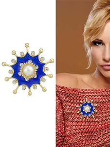 Image of Spilla blu in lega d'acciaio perle chic & moderna festa donna