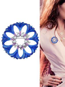 Image of Spilla blu in lega d'acciaio perle chic & moderna fiore fuori