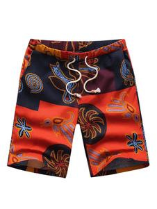 Image of Pantaloncini con blocchi di colore arancioni in cotone di lino c