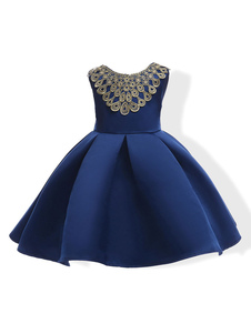 Robes cortège enfant 2018 bleu royal A ligne plissée sans manches longueur genou courte robe de soirée