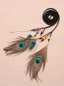 Image of Boho Waist Chain Peacock Feathers Beaded Nylon Chain Belt