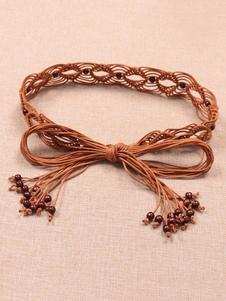 Image of        Cintura intrecciata in nylon con cintura intrecciata da donna