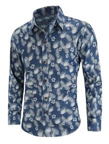 Image of Camicia casual a manica lunga da uomo in camicia di jeans con st