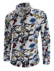 Image of Camicia a maniche lunghe Camicia da uomo in cotone con stampa st