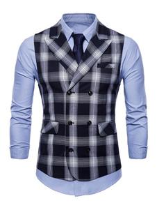 Abrigo negro sin mangas de tartán con cuello en V Cuello sin mangas para hombres