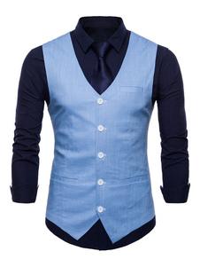 Abrigo sin mangas con cuello en V de los hombres Chaleco sin mangas de bolsillo con cuello en V