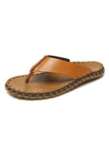 Chanclas de hombre Tanga de piel de vaca Sandalias de sandalias sin respaldo Sandalias de playa