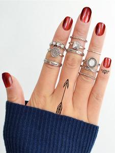 Image of Anelli impilabili Set strass argento in gioielli da donna 10 pez
