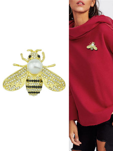 Broche de abeja de oro Broche Rhinestoen Joyería de mujer Regalo de cumpleaños