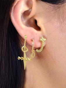 Image of Orecchino in oro con orecchini a perno per donna