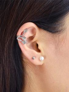 Image of Foglia d'argento del polsino dell'orecchio per le donne