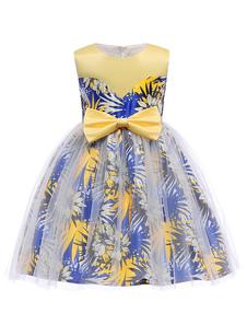 Robes de demoiselle d'honneur Royal Blue Kids Floral Print Princess Dress Genou Robes de soirée formelle