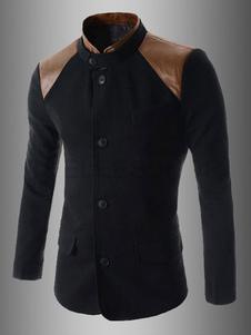 Image of Giacca sportiva da uomo in blazer con collo bicolore\, giacca in misto patchwork in due pezzi