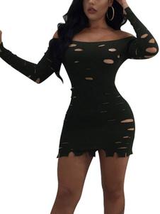 Image of Abito sexy da club Abito lungo con scollo tondo Abito aderente con spalle aderenti Abito Bardot donna