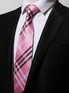 Image of Cravatta casual in poliestere scozzese a righe cravatta uomo ros