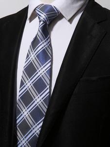 Blue Men Necktie Stripe Checker Vestido de poliéster Tie