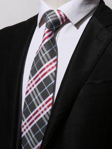 Image of Cravatta cravatta plaid grigio per cravatta a righe da uomo