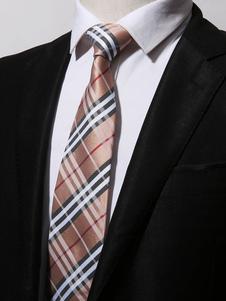 Image of Cravatta casual da uomo cravatta a righe plaid in cachi