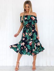 Image of Abito estivo 2018 floreale Donna Abito Bardot Off The Shoulder Abito in chiffon stampato manica corta