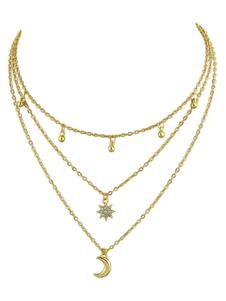 Image of Regalo di anniversario della collana del pendente della catena della luna della collana stratificata oro