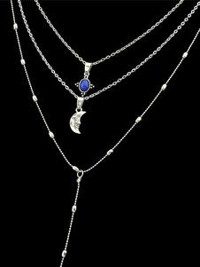 Image of Collana a pendente in argento con catena a strass luna