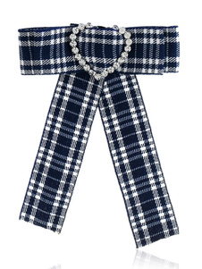 Image of Bow Tie Spille Dark Navy Plaid Costume Accessori Vintage British Women Beaded Ribbon Jewelry collare